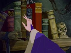 Snow White and the Seven Dwarfs (1937).  The evil Queen has her own library that she uses to find the right poison for Snow White.