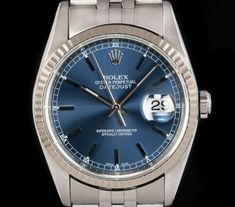 Rolex Datejust Gents Stainless Steel Blue Dial B&P 16234 Rolex Watches For Men, Luxury Watches, Rolex Datejust, Gold Watch, Omega Watch, Accessories, Stainless Steel, Blue, Mens Watches Rolex