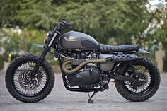 Triumph Motorcycle - Just really feeling the Scrambler vibes. - Triumph Bonneville Scrambler by Rajputana Custom Motorcycles Triumph Cafe Racer, Triumph Scrambler, Triumph Motorcycles, Cafe Racer Bikes, Cafe Racer Motorcycle, Cool Motorcycles, Motorcycle Design, Vintage Motorcycles, Cafe Racers