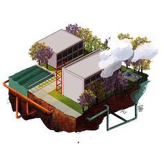 """Les comparto la ilustración que realicé para el semanario """"Cruces"""" sobre el ciclo del agua en ITESO . . #iteso #water #cycle #illustration #university #ecofriendly #guadalajara #tree #clouds #rain #building #infographic #work #print #mexico #wacom #adobe #texture #photoshop"""