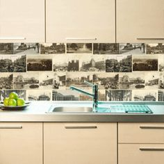 Choose your own photo image and they print onto vinyl to be applied behind glass as a splashback!