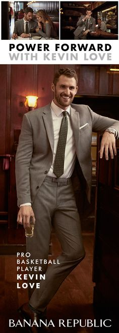 Make your style game strong. Pro basketball player Kevin Love heads to dinner in a Grant Slim-Fit Non-Iron Stretch Solid Shirt, Slim Plaid Wool Suit Jacket and Slim Plaid Wool Suit Trouser. Exclusively at Banana Republic.