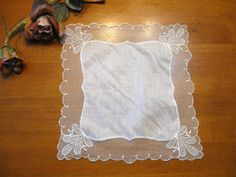 White Lace Handkerchief, Vintage Collectible, Vintage Hankie, Hanky, Bride Hankies, Wedding Hankies  by NormasTreasures on etsy by NormasTreasures on Etsy