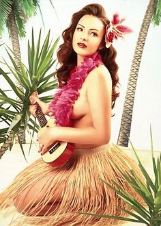 Uke pin up! Hawaiian Girls, Hawaiian Art, Vintage Hawaiian, Hawaiian Woman, Estilo Pin Up, Tiki Maske, Tiki Art, Tiki Tiki, Tiki Decor