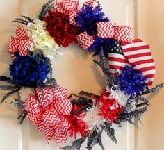 Americana Wreath, Patriotic Wreath, Veterans Day, Memorial Day, 4th of July, Veteran's Homecoming, American Flag, Feathers, Red-White-Blue Chevron Ribbon, handmade @ www.etsy.com/shop/FreshStyleStudio