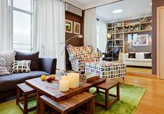 Luxurious Apartment with Terrace Outdoor : Cozy Apartment With Terrace Wooden Cofffee Table Grey Sofa Design
