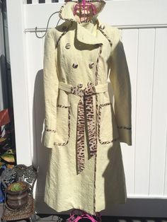 Creamy Yellow Matelasse Like with Leopard Print Piping Buttons Petite S | eBay