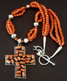 Coral and Sterling Silver Cross Pendant with White Heart Beads, Carnelian Rounds and Stamped Sterling