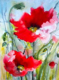 "Saatchi Art Artist: Karin Johannesson Watercolor Painting, ""Poppies II"" #art #watercolor ♥•♥•♥"