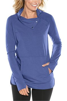 Long Sleeve Knit Hoodie with UV Sun Protection Super Soft Bamboo Cotton Blend