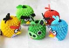 5pic 3d origami angry birds vyráběl skládaný papír na origami, dobrý dárek pro děti 5pic