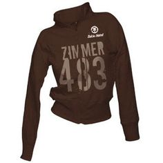 This sweatshirt is colour brown and is of longsleeved has letters and numbers and say:ZIMMER 483 (room 483) the size is medium, the costs is $600