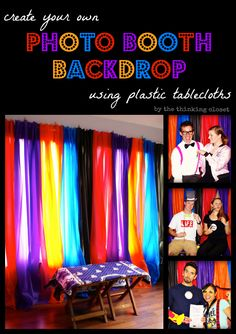 Create your own Photo Booth Backdrop using Plastic Tablecloths from the dollar store!  Shockingly easy and inexpensive.  via thinkingcloset.com