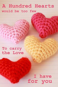 Crochet Pattern - Little Heart Plushy. I can just envision all kinds of uses for these little stuffed puffs! ¯\_(ツ)_/¯