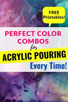 How to Choose the PERFECT Color Combos for Acrylic Pouring EVERY TIME!  FREE Printables! Pour Painting Techniques, Acrylic Pouring Techniques, Acrylic Painting Lessons, Acrylic Pouring Art, Acrylic Artwork, Acrylic Painting Tutorials, Flow Painting, Diy Painting, Painted Trees