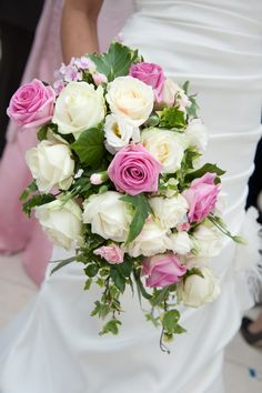 Sub the light pink flowers ~ Pink & White Rose Teardrop Bouquet