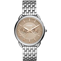Fossil Women's Tailor Stainless Steel Bracelet Watch 35mm ES4225 ($125) ❤ liked on Polyvore featuring jewelry, watches, silver, fossil wrist watch, stainless steel jewellery, stainless steel watches, watch bracelet and dial watches