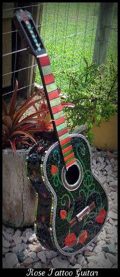 rose tattoo guitar