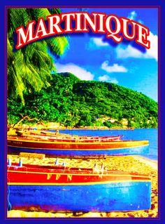 Martinique Caribbean Island Beach Ocean Island Travel Advertisement Art Poster  #Vintage