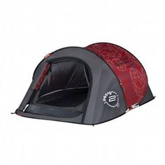 All Tents Camping - 2 Seconds Easy II Pop Up Tent, Grey/Red QUECHUA - Tents