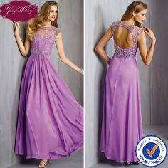 Ladies Party Wear Gown Arabic Style Prom Dresses Keyhole Back in Purple