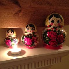 Light from a candle with Russian dolls