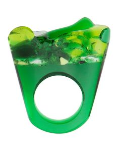 Murano Glass Ring, Lime Green
