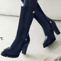 Купить Толстый пятки средняя   средний икры сапоги женщины высокая пятки зима обувь прибыл обувьи другие товары категории Сапоги и ботинкив магазине Snake Dance Shoes Co., Ltd.наAliExpress. обувь беговой дорожке и обувь женская обувь обувь