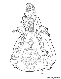 coloring page child princess for girls printable barbie princess dress
