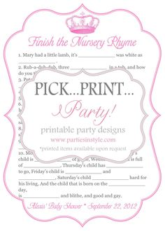 Baby Shower Game - Finish the Nursery Rhyme awesome ideas for nene pink and yellow princess girl baby shower