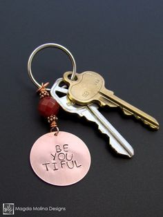 "Copper Keychain With ""BE YOU TIFUL"" Affirmation And Carnelian #positive #heart #affirmation #uplifting #gift #idea #holidays #stocking #stuffer #meaningful #handmade #gemstone  #handmadewithlove #keychain #keyring #beyoutiful #beautiful #stone #carnelian #red #key #keys #home"