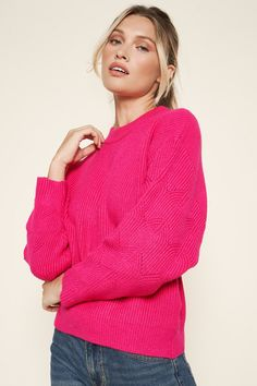 Pink Sweater Outfit, Preppy Sweater, Hot Pink Tops, Ribbed Sweater, Mock Neck, Pretty Outfits, Fitness Models, Fashion Outfits, Pullover