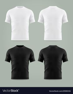 Set isolated black and white t-shirt template Vector Image , Free T Shirt Design, T Shirt Design Template, Shirt Designs, 3d T Shirts, Printed Shirts, Black And White T Shirts, Black White, Tshirt Photography, Fashion Design Sketches