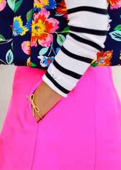 floral clutch and stripes #loveit #fashion #ootd www.alittledashofdarling.com