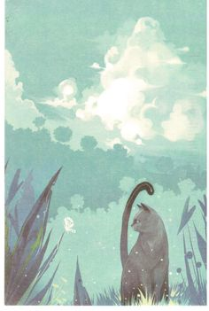 Pretty illustration of cat and a blue, green and aqua background.  From a Postcrosser in China.