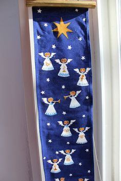 Danish Fabric Wall hanging Angels Nativity Christmas Blue White Jangaard Denmark by Plantdreaming $45.00