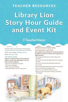 Looking for story time ideas? Introduce young children to the library by hosting a Library Lion story hour by using this downloadable printable. Enhance children's reading experience with the discussion questions, craft projects, and singing activity in this printable event kit! Perfect for PreK-2nd Grade students. Post Reading Activities, Reading Resources, Reading Skills, Teacher Resources, Kindergarten Worksheets, Kindergarten Activities, Lion Story, Young Children, Learn To Read