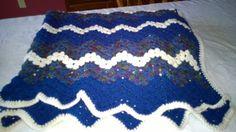 Handmade crochet afghan blanket throw in a teal blue. by darstar5