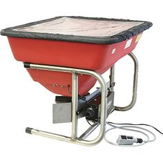 Earthway M80ECM M80Ecm 12V Professional Broadcast Spreader. 250Lb/112Kg hopper capacity- rustproof poly construction. Ev-n-spred pro dual port adjustable shut-off system. High-torque 12-volt motor in thermoplastic case. 300Lb/134Kg load bearing capacity - what the frame will support. Stainless steel chassis with integrated vertical or horizontal mounting system.