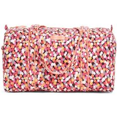 Vera Bradley Small Duffel Travel Bag in Pixie Confetti ($48) ❤ liked on Polyvore featuring bags, luggage, pixie confetti, sale and travel