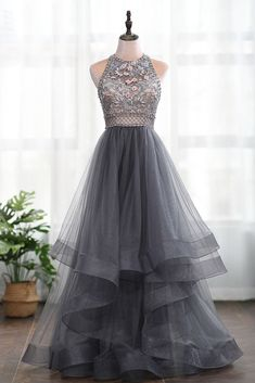 Grey Tulle Flowers Backless Heavy Beading High Neck Long Prom Dress, Evening Dress Source by dresses idea Grey Prom Dress, Unique Prom Dresses, Prom Dresses With Sleeves, Pretty Dresses, Beautiful Dresses, Sexy Dresses, Bridesmaid Dresses, Corset Dresses, Formal Dresses