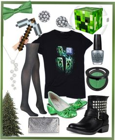 """""""Minecraft Christmas Outfit"""" put together by me on Polyvore"""