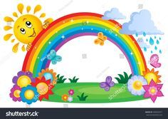 Rainbow topic image 2 vector image on VectorStock Rainbow Theme, Rainbow Art, Easy Drawings For Kids, Drawing For Kids, Rainbow Drawing, Kindergarten Reading Activities, Valentine Crafts For Kids, Summer Painting, Kids Room Wallpaper