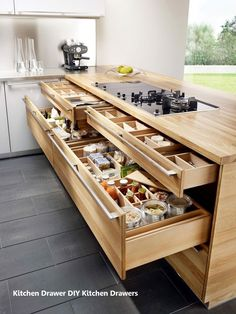 New Kitchen Drawers Ideas – Bricolage Maison Kitchen Cabinet Storage, Kitchen Drawers, Storage Cabinets, Drawer Storage, Kitchen Cabinets, Kitchen Countertops, Kitchen Corner, Kitchen Tops, New Kitchen