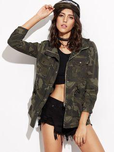Veste imprimé camouflage avec poche - vert foncé Veste Imprimée, Vert  Foncé, Fringues, 4ba1c9656e2b
