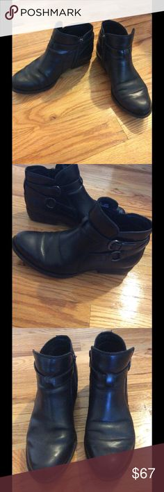 BORN Baily black bootie Born short black boot.  Beyond comfortable, you can literally walk and stand in these all day. Zipper closure on one side. Worn a handful of times.  Price is firm, they were purchased the beginning of fall. Born Shoes Ankle Boots & Booties