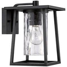 """Quoizel Lodge 12 1/2"""" High Black Outdoor Wall Light -"""