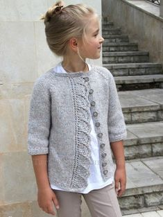 """Knitted cardigan for girls """"Knitted cardigan for girls. Ravelry: Cove Cardigan pattern by Heidi May"""", """"Knitting Archives - Page 2 of 10 - Crafting Today Baby Knitting Patterns, Knitting For Kids, Baby Patterns, Free Knitting, Baby Cardigan Knitting Pattern, Knitting Ideas, Crochet Baby, Knit Crochet, Ravelry Crochet"""