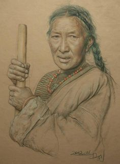 William Wu    Portrait of Tibetan woman making cheese  Size: 40cmx55cm  Material: Sketch & Charcoal on chinese