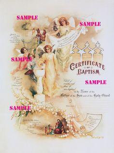 Vintage Baptism Certificate Digital Download Image by floozieville, $1.20